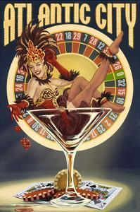 Atlantic City - Pinup Showgirl by Lantern Press