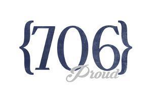 Augusta, Georgia - 706 Area Code (Blue) by Lantern Press
