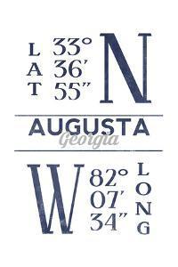 Augusta, Georgia - Latitude and Longitude (Blue) by Lantern Press