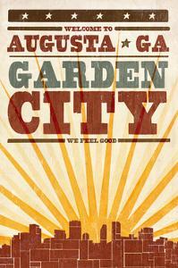 Augusta, Georgia - Skyline and Sunburst Screenprint Style by Lantern Press