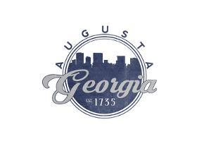 Augusta, Georgia - Skyline Seal (Blue) by Lantern Press