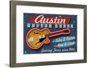 Austin, Texas - Guitar Shack Vintage Sign by Lantern Press