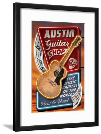 Austin, Texas - Guitar Shop Vintage Sign