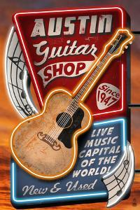 Austin, Texas - Guitar Shop Vintage Sign by Lantern Press