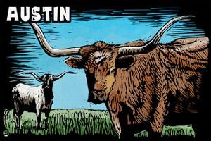 Austin, Texas - Longhorn - Scratchboard by Lantern Press
