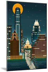Austin, Texas - Retro Skyline (no text) by Lantern Press