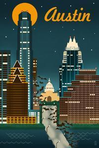 Austin, Texas - Retro Skyline by Lantern Press