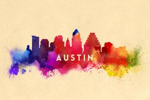 Austin, Texas - Skyline Abstract by Lantern Press