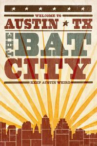 Austin, Texas - Skyline and Sunburst Screenprint Style by Lantern Press