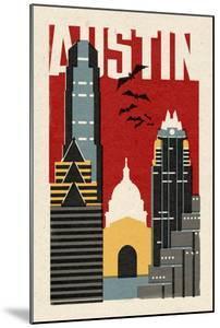 Austin, Texas - Woodblock by Lantern Press
