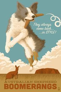 Australian Shepherd - Retro Boomerang Ad by Lantern Press