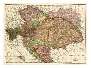 Austria-Hungary - Panoramic Map by Lantern Press