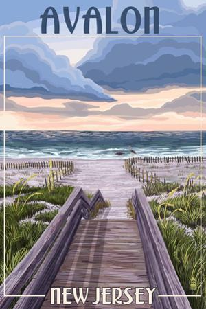 Avalon, New Jersey - Beach Boardwalk Scene by Lantern Press