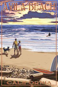 Avila Beach, CA - Sunset Beach Scene by Lantern Press