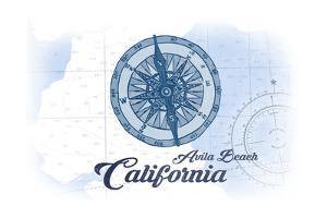 Avila Beach, California - Compass - Blue - Coastal Icon by Lantern Press