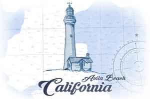 Avila Beach, California - Lighthouse - Blue - Coastal Icon by Lantern Press