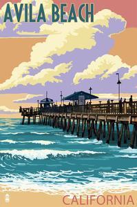 Avila Beach, California - Pier Sunset by Lantern Press