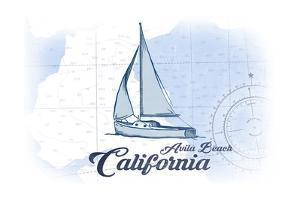 Avila Beach, California - Sailboat - Blue - Coastal Icon by Lantern Press