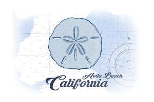 Avila Beach, California - Sand Dollar - Blue - Coastal Icon by Lantern Press