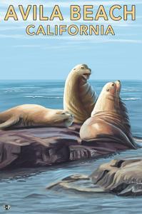 Avila Beach, California - Sea Lions by Lantern Press