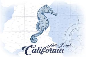 Avila Beach, California - Seahorse - Blue - Coastal Icon by Lantern Press