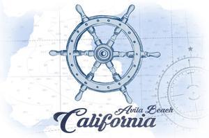Avila Beach, California - Ship Wheel - Blue - Coastal Icon by Lantern Press