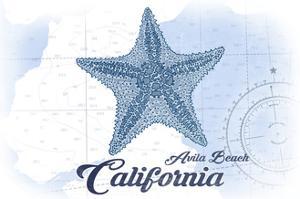 Avila Beach, California - Starfish - Blue - Coastal Icon by Lantern Press