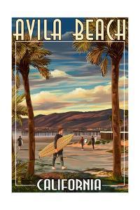 Avila Beach, California - Surfer and Pier by Lantern Press