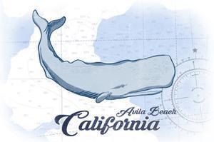 Avila Beach, California - Whale - Blue - Coastal Icon by Lantern Press