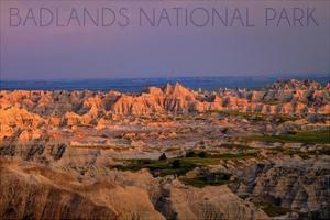 Badlands National Park, South Dakota - Purple Sunset by Lantern Press