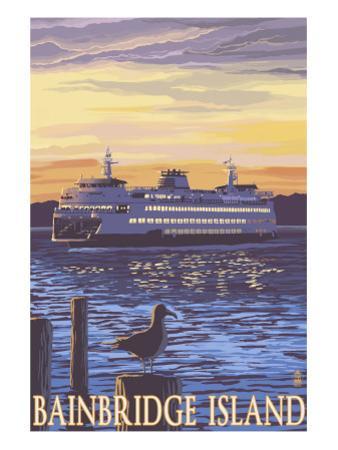 Bainbridge Island, WA - Ferry and Sunset by Lantern Press
