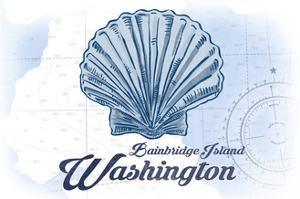 Bainbridge Island, Washington - Scallop Shell - Blue - Coastal Icon by Lantern Press