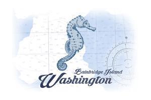 Bainbridge Island, Washington - Seahorse - Blue - Coastal Icon by Lantern Press