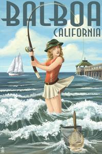 Balboa, California - Surf Fishing Pinup Girl by Lantern Press