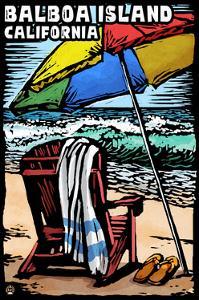 Balboa Island, California - Beach Chair - Scratchboard by Lantern Press