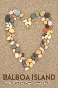 Balboa Island, California - Stone Heart on Sand by Lantern Press