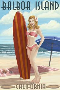 Balboa Island, California - Surfer Pinup by Lantern Press