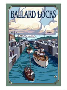 Ballard Locks and Boats, Seattle, Washington by Lantern Press