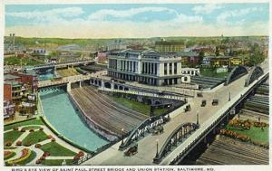Baltimore, Maryland - Aerial View of St Paul Street Bridge and Union Station by Lantern Press
