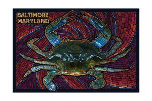 Baltimore, Maryland - Blue Crab Paper Mosaic by Lantern Press