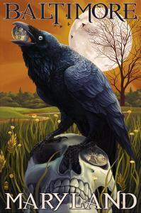 Baltimore, Maryland - Raven and Skull by Lantern Press