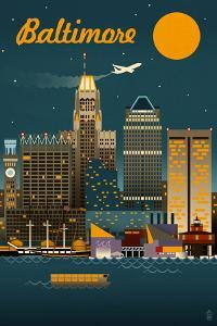 Baltimore, Maryland - Retro Skyline by Lantern Press