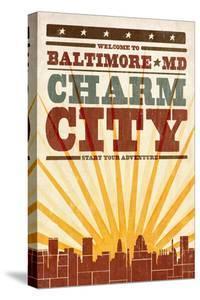 Baltimore, Maryland - Skyline and Sunburst Screenprint Style by Lantern Press