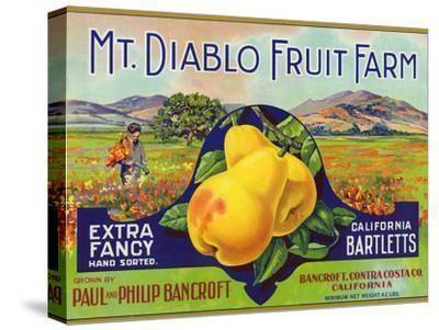 Bancroft, California, Mt. Diablo Fruit Farm Brand Pear Label