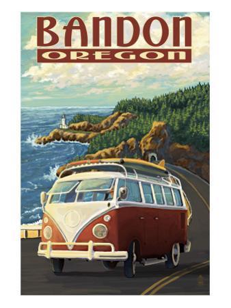 Bandon, Oregon - VW Van Coast Scene by Lantern Press
