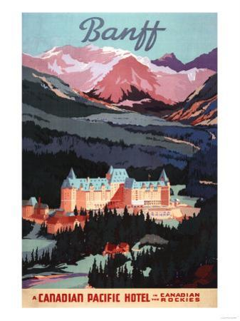 Banff, Alberta, Canada - Overview of the Banff Springs Hotel Poster by Lantern Press