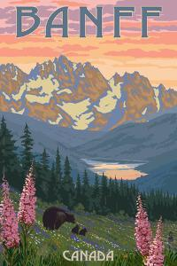 Banff, Canada - Bear and Spring Flowers by Lantern Press