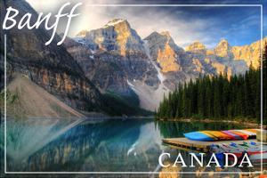 Banff, Canada - Moraine Lake Canoes by Lantern Press