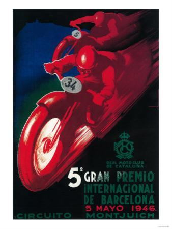 Barcelona, Spain - 5 Gran Premio International Motorcycle Poster