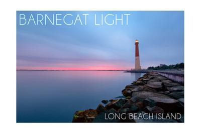 Barnegat Light, New Jersey - Barnegat Lighthouse and Pink Sunset by Lantern Press